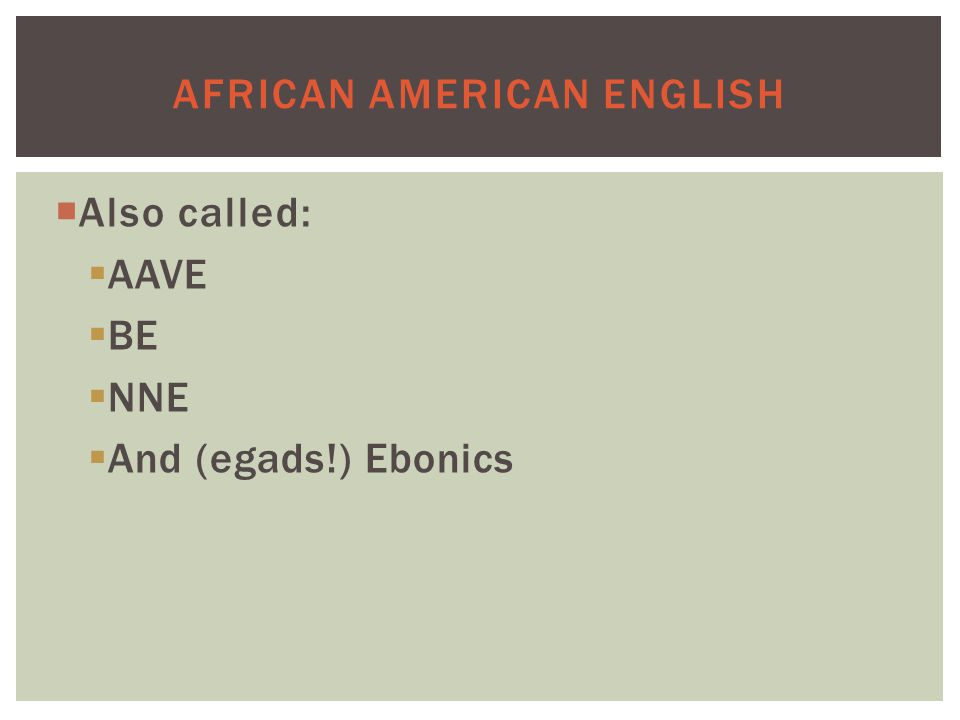 AFRICAN AMERICAN ENGLISH  Also called:  AAVE  BE  NNE  And (egads!) Ebonics