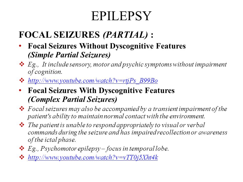 Partial Seizures Simple Complex Generalized Seizures Absence Myoclonic Tonic-Clonic Status epilepticus Lamotrigine Levetiracetam Topiramate Newer AEDs Benzodiazepine