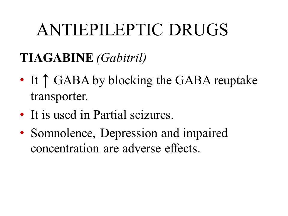 ANTIEPILEPTIC DRUGS TIAGABINE (Gabitril) It ↑ GABA by blocking the GABA reuptake transporter. It is used in Partial seizures. Somnolence, Depression a