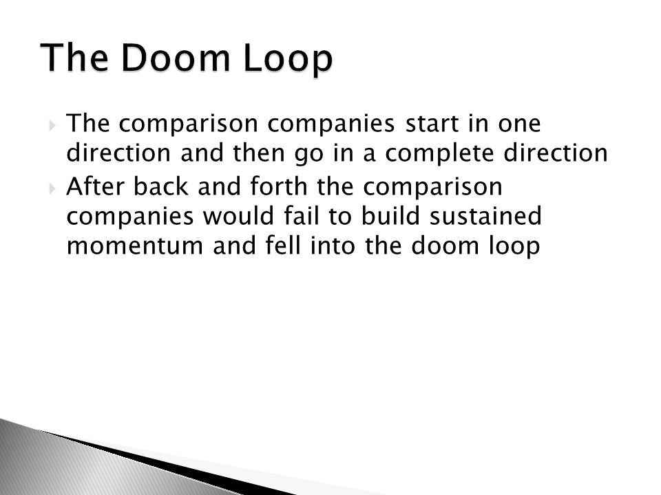  The comparison companies start in one direction and then go in a complete direction  After back and forth the comparison companies would fail to build sustained momentum and fell into the doom loop