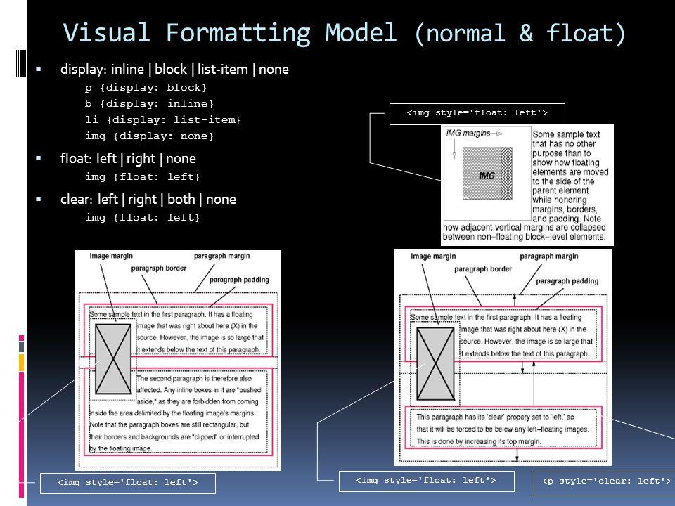 Visual Formatting Model (normal & float)  display: inline | block | list-item | none p {display: block} b {display: inline} li {display: list-item} img {display: none}  float: left | right | none img {float: left}  clear: left | right | both | none img {float: left}