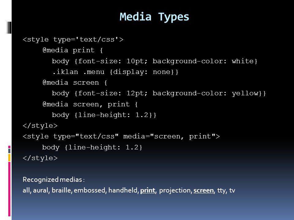 12 Media Types Print