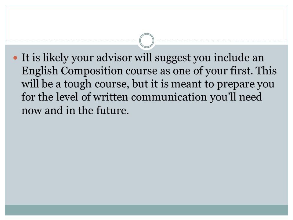 It is likely your advisor will suggest you include an English Composition course as one of your first.