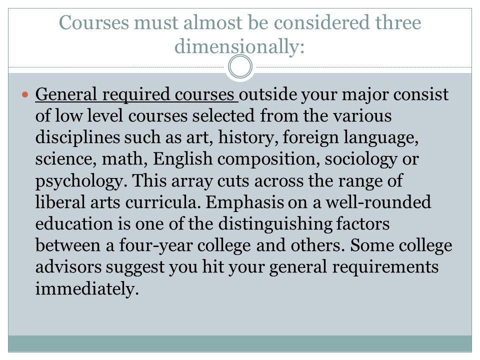 Courses must almost be considered three dimensionally: General required courses outside your major consist of low level courses selected from the various disciplines such as art, history, foreign language, science, math, English composition, sociology or psychology.