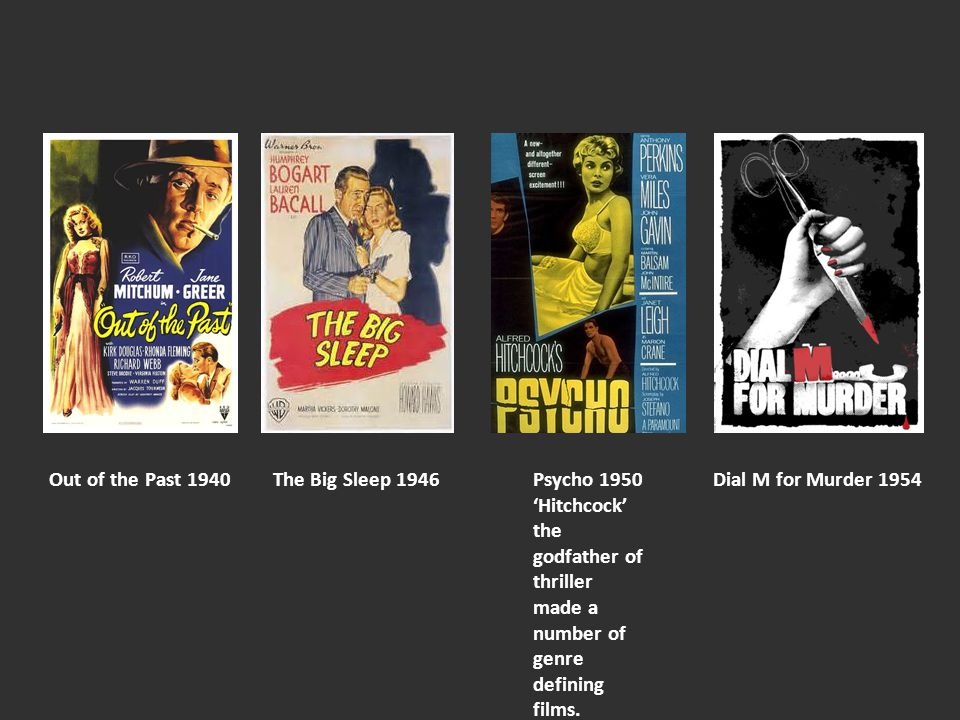 The Big Sleep 1946Out of the Past 1940Dial M for Murder 1954Psycho 1950 'Hitchcock' the godfather of thriller made a number of genre defining films.