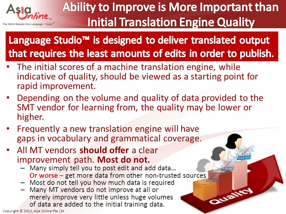 Copyright © 2012, Asia Online Pte Ltd The initial scores of a machine translation engine, while indicative of quality, should be viewed as a starting point for rapid improvement.