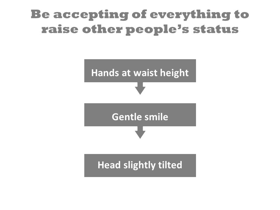 Be accepting of everything to raise other people's status Head slightly tilted Gentle smile Hands at waist height