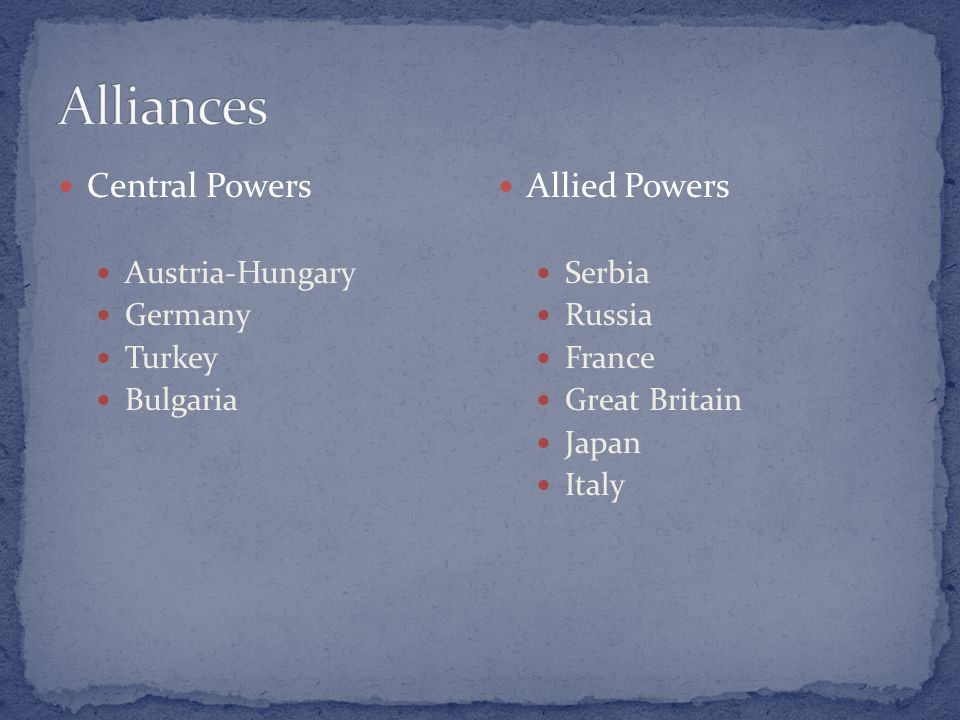 Central Powers Austria-Hungary Germany Turkey Bulgaria Allied Powers Serbia Russia France Great Britain Japan Italy