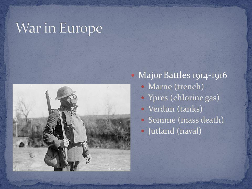 Major Battles 1914-1916 Marne (trench) Ypres (chlorine gas) Verdun (tanks) Somme (mass death) Jutland (naval)