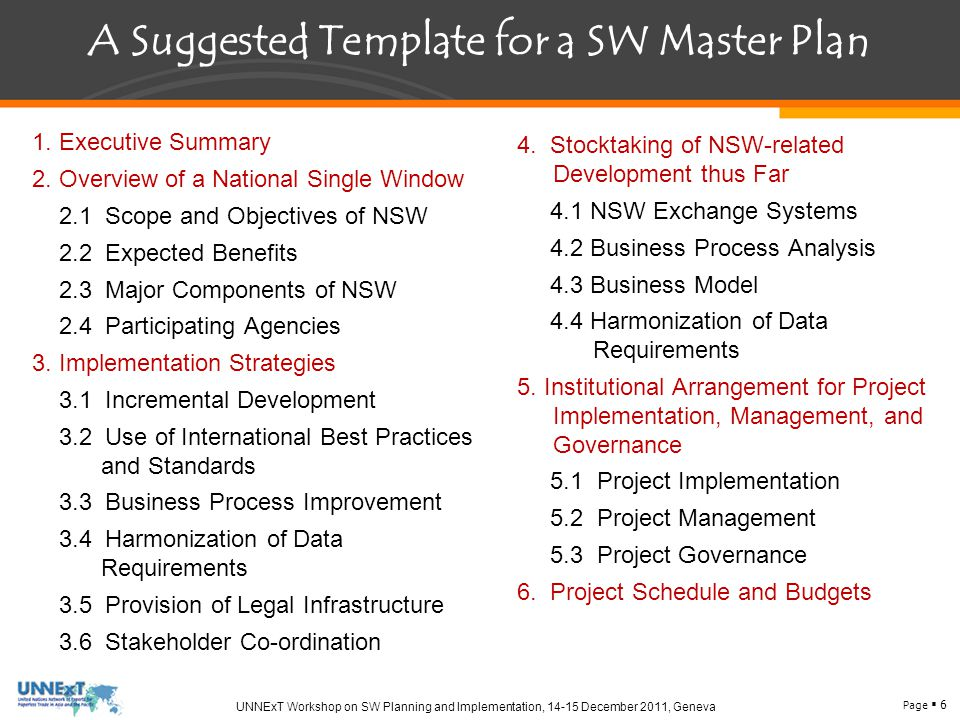 Page  6 UNNExT Workshop on SW Planning and Implementation, 14-15 December 2011, Geneva A Suggested Template for a SW Master Plan 1.