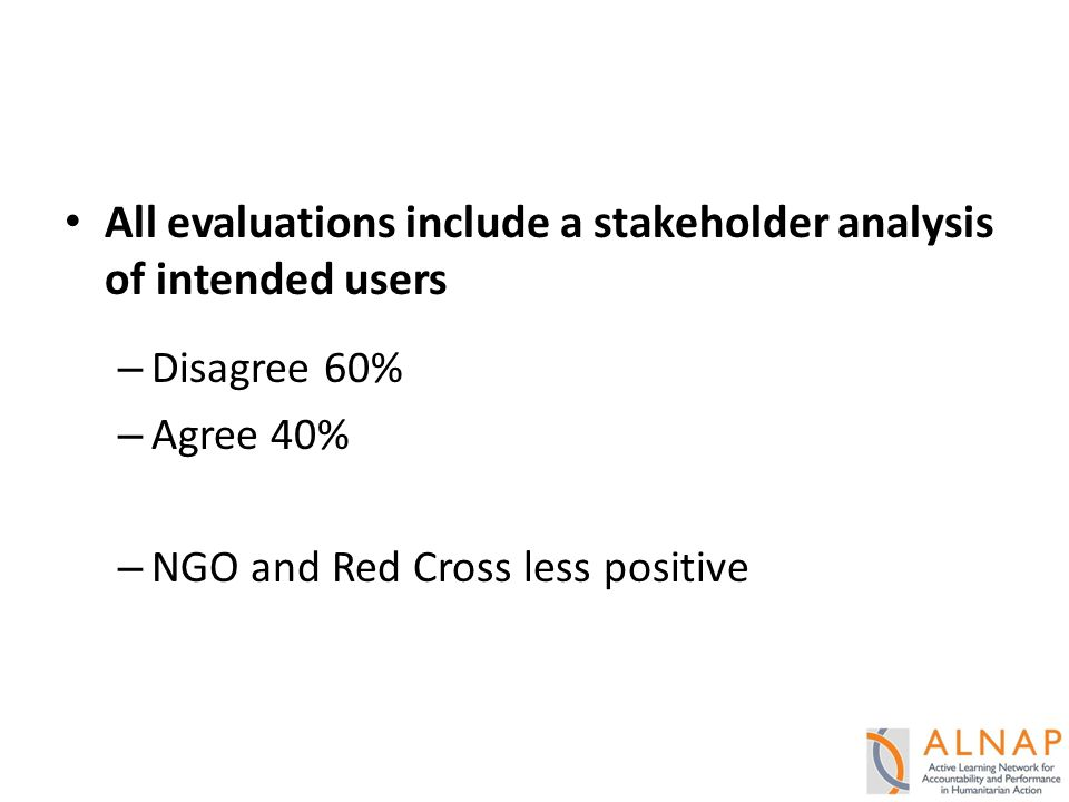 All evaluations include a stakeholder analysis of intended users – Disagree 60% – Agree 40% – NGO and Red Cross less positive