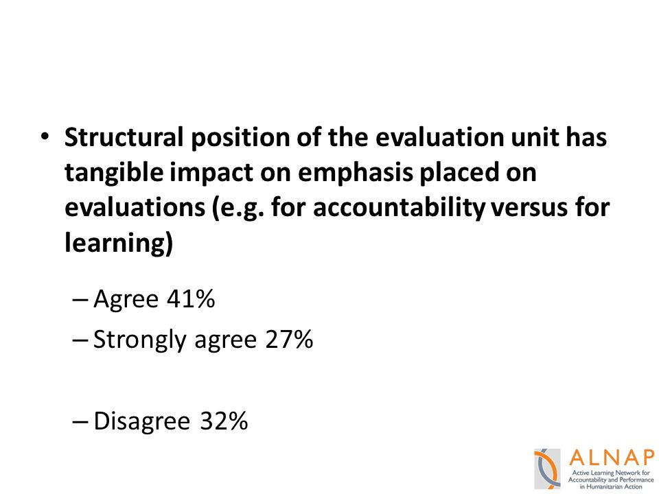 Structural position of the evaluation unit has tangible impact on emphasis placed on evaluations (e.g.