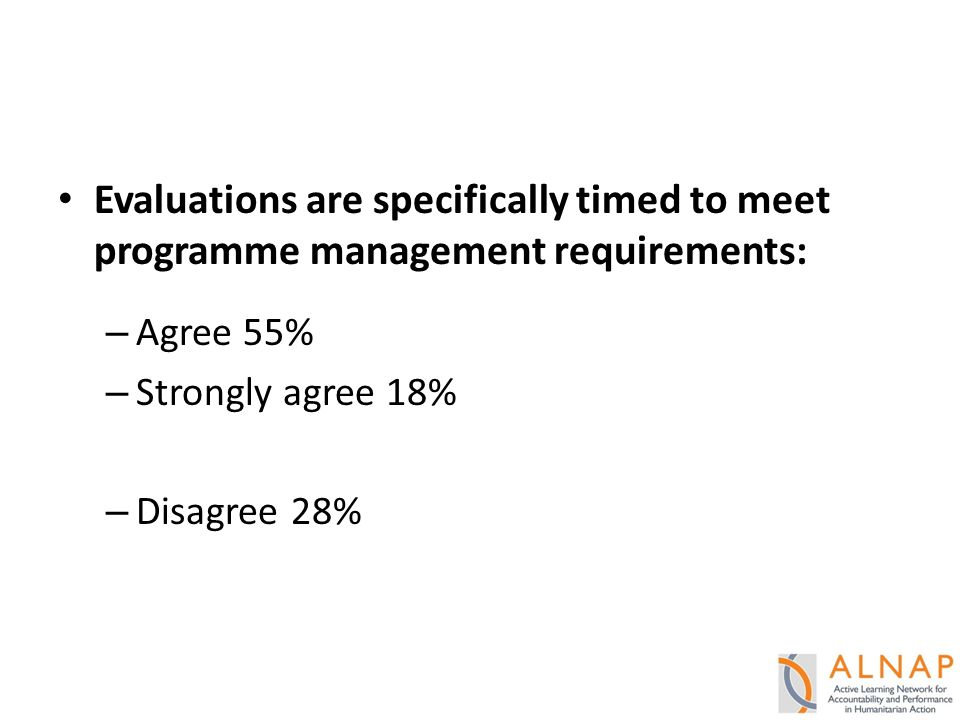 Evaluations are specifically timed to meet programme management requirements: – Agree 55% – Strongly agree 18% – Disagree 28%