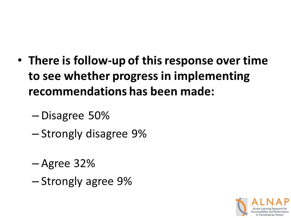 There is follow-up of this response over time to see whether progress in implementing recommendations has been made: – Disagree 50% – Strongly disagree 9% – Agree 32% – Strongly agree 9%