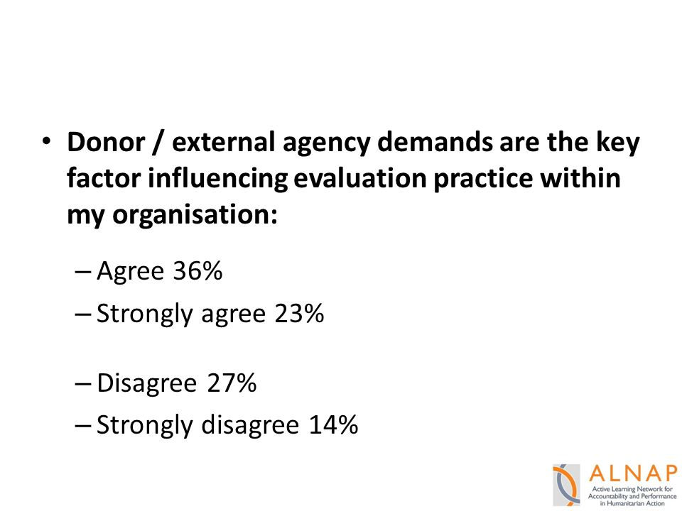 Donor / external agency demands are the key factor influencing evaluation practice within my organisation: – Agree 36% – Strongly agree 23% – Disagree 27% – Strongly disagree 14%