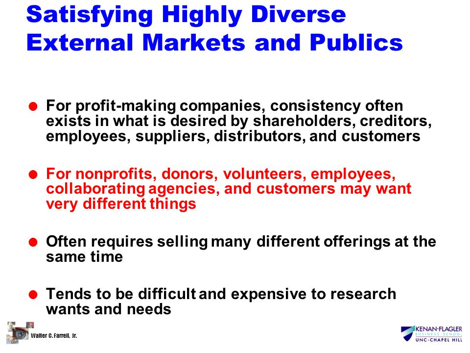 Walter C. Farrell, Jr. Satisfying Highly Diverse External Markets and Publics l For profit-making companies, consistency often exists in what is desir