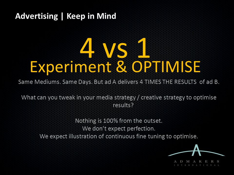 Advertising | Keep in Mind Experiment & OPTIMISE Same Mediums. Same Days. But ad A delivers 4 TIMES THE RESULTS of ad B. What can you tweak in your me