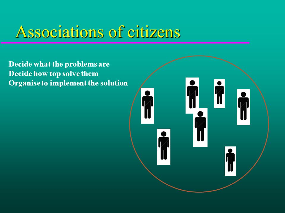 Associations of citizens Decide what the problems are Decide how top solve them Organise to implement the solution