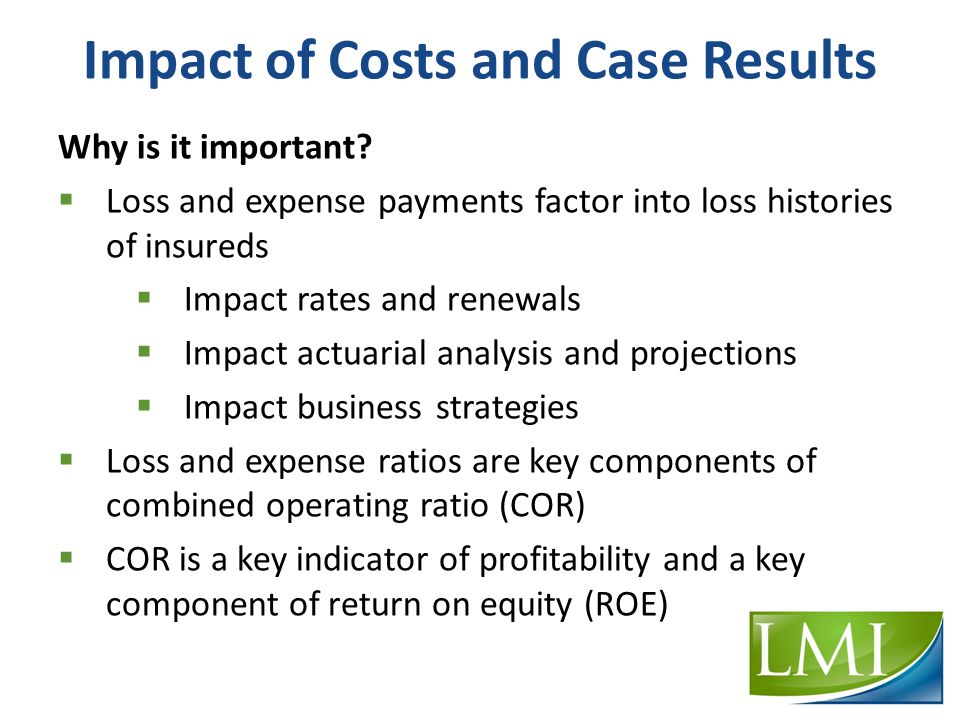 Impact of Costs and Case Results Why is it important.