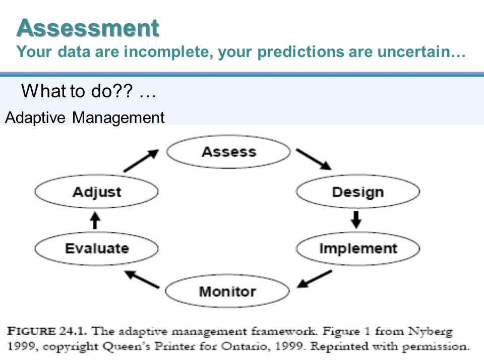 26 Assessment Assessment Your data are incomplete, your predictions are uncertain… What to do?.