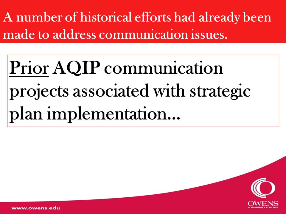 A number of historical efforts had already been made to address communication issues. Prior AQIP communication projects associated with strategic plan