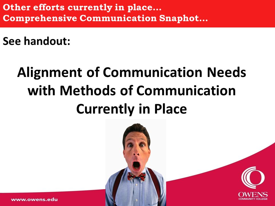 Other efforts currently in place… Comprehensive Communication Snaphot… See handout: Alignment of Communication Needs with Methods of Communication Cur