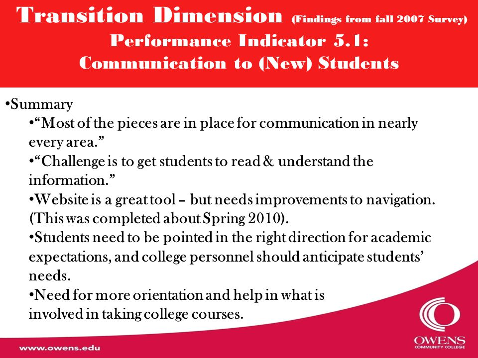 "Transition Dimension (Findings from fall 2007 Survey) Performance Indicator 5.1: Communication to (New) Students Summary ""Most of the pieces are in pl"