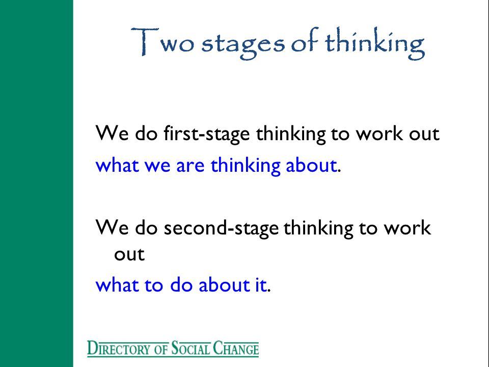 Two stages of thinking We do first-stage thinking to work out what we are thinking about.