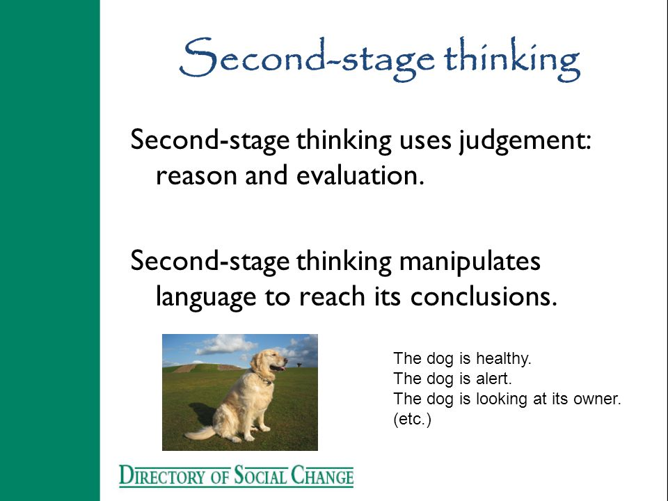 Second-stage thinking Second-stage thinking uses judgement: reason and evaluation. Second-stage thinking manipulates language to reach its conclusions