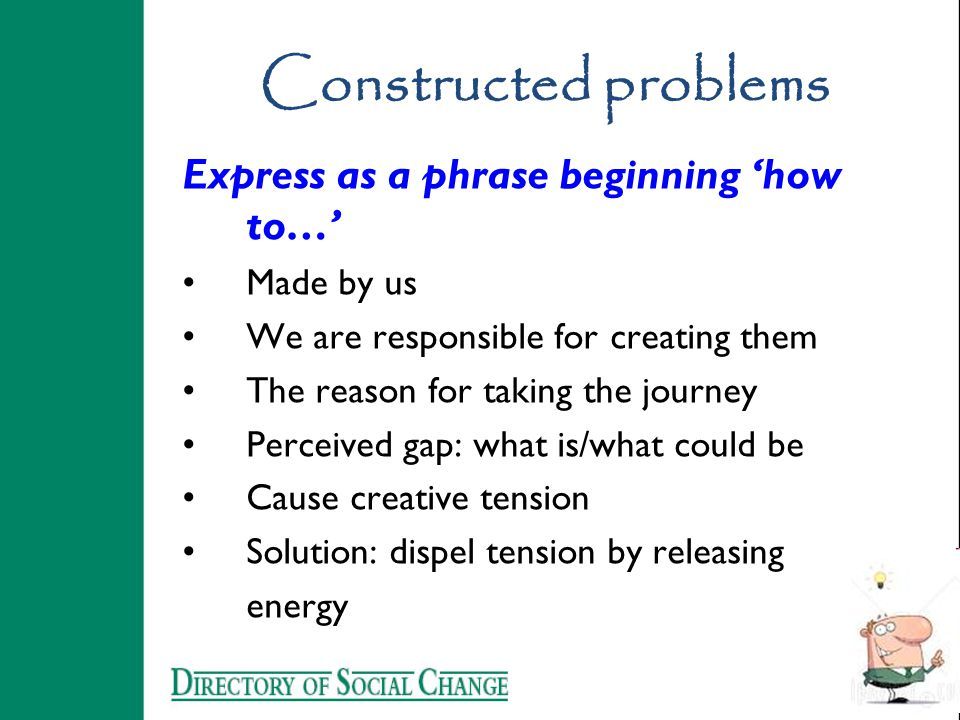 Constructed problems Express as a phrase beginning 'how to…' Made by us We are responsible for creating them The reason for taking the journey Perceiv