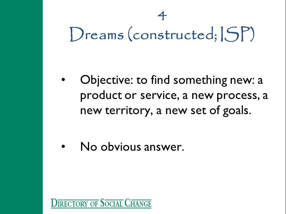 4 Dreams (constructed; ISP) Objective: to find something new: a product or service, a new process, a new territory, a new set of goals.