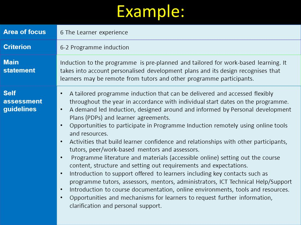 Example: Area of focus 6 The Learner experience Criterion 6-2 Programme induction Main statement Induction to the programme is pre-planned and tailore