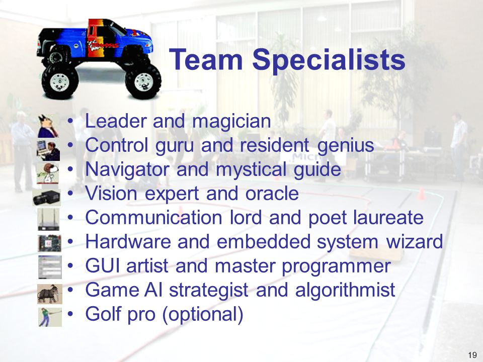 19 Team Specialists Leader and magician Control guru and resident genius Navigator and mystical guide Vision expert and oracle Communication lord and poet laureate Hardware and embedded system wizard GUI artist and master programmer Game AI strategist and algorithmist Golf pro (optional)