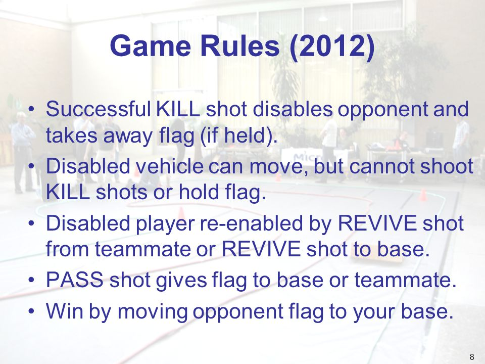 9 Fundamental Rules Starting play –Play begins with signal from official.
