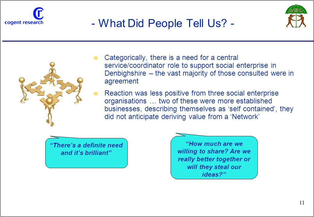 www.cogentresearch.co.uk 11 - What Did People Tell Us? - Categorically, there is a need for a central service/coordinator role to support social enter
