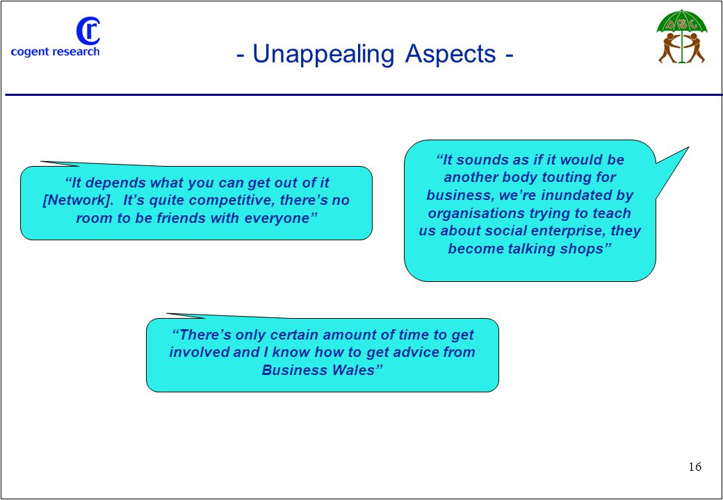 www.cogentresearch.co.uk 16 - Unappealing Aspects - It sounds as if it would be another body touting for business, we're inundated by organisations trying to teach us about social enterprise, they become talking shops There's only certain amount of time to get involved and I know how to get advice from Business Wales It depends what you can get out of it [Network].