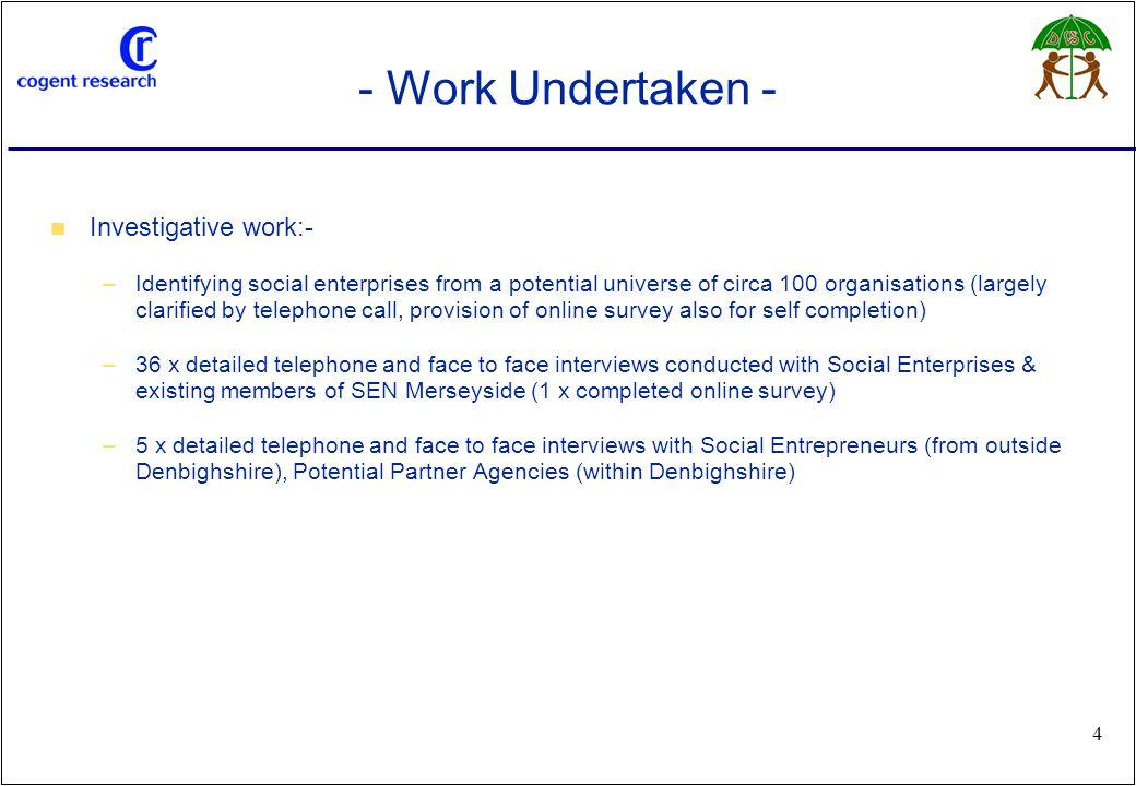 www.cogentresearch.co.uk 4 - Work Undertaken - Investigative work:- –Identifying social enterprises from a potential universe of circa 100 organisatio