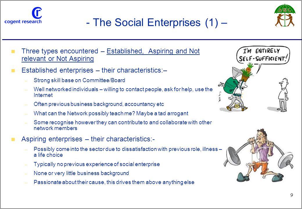 www.cogentresearch.co.uk 9 - The Social Enterprises (1) – Three types encountered – Established, Aspiring and Not relevant or Not Aspiring Established