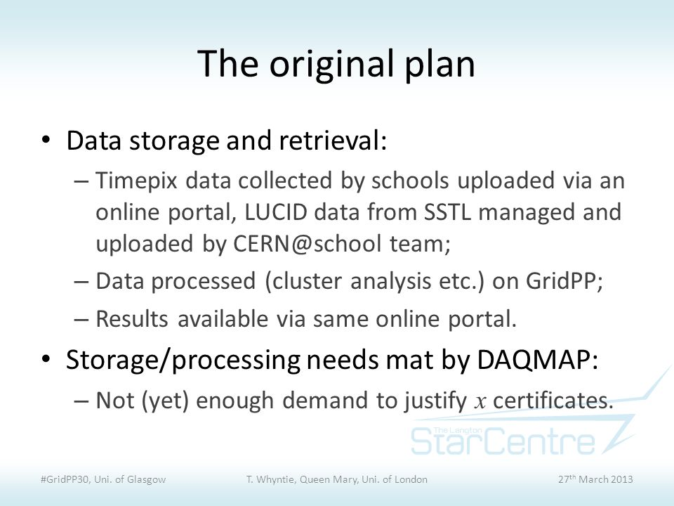 The original plan Data storage and retrieval: – Timepix data collected by schools uploaded via an online portal, LUCID data from SSTL managed and uploaded by CERN@school team; – Data processed (cluster analysis etc.) on GridPP; – Results available via same online portal.