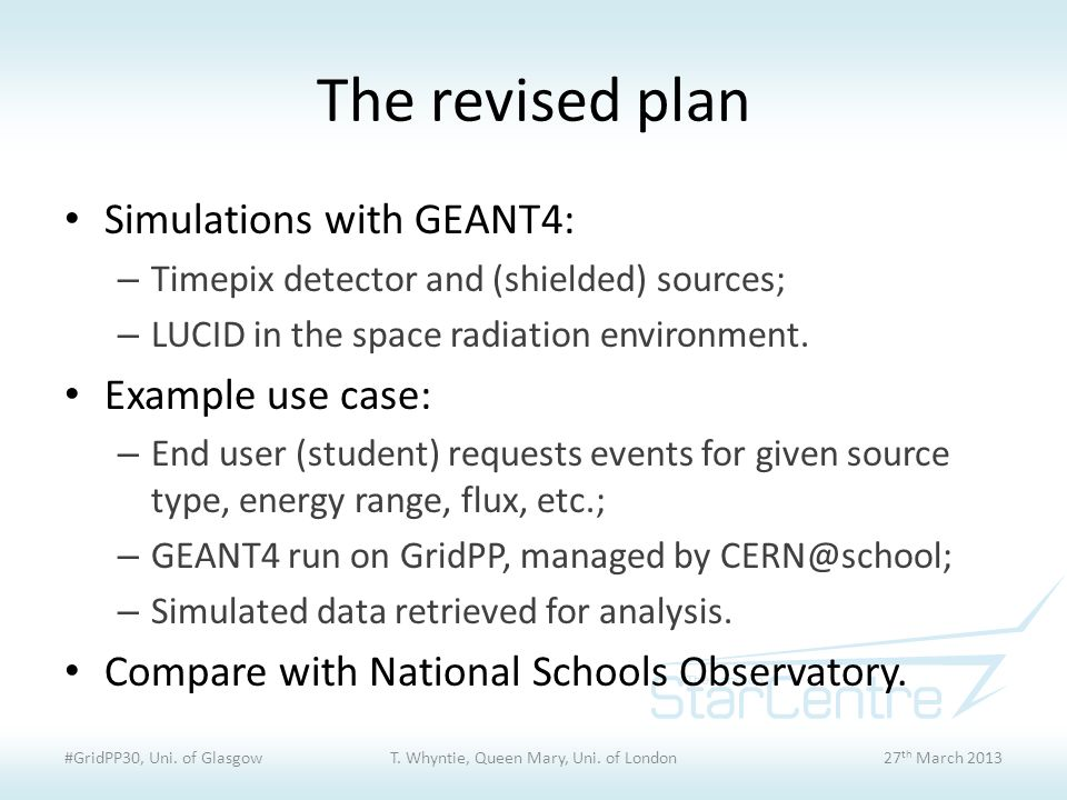 The revised plan Simulations with GEANT4: – Timepix detector and (shielded) sources; – LUCID in the space radiation environment. Example use case: – E