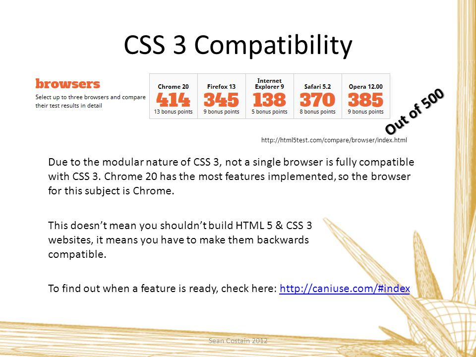 CSS 3 Compatibility http://html5test.com/compare/browser/index.html Due to the modular nature of CSS 3, not a single browser is fully compatible with CSS 3.
