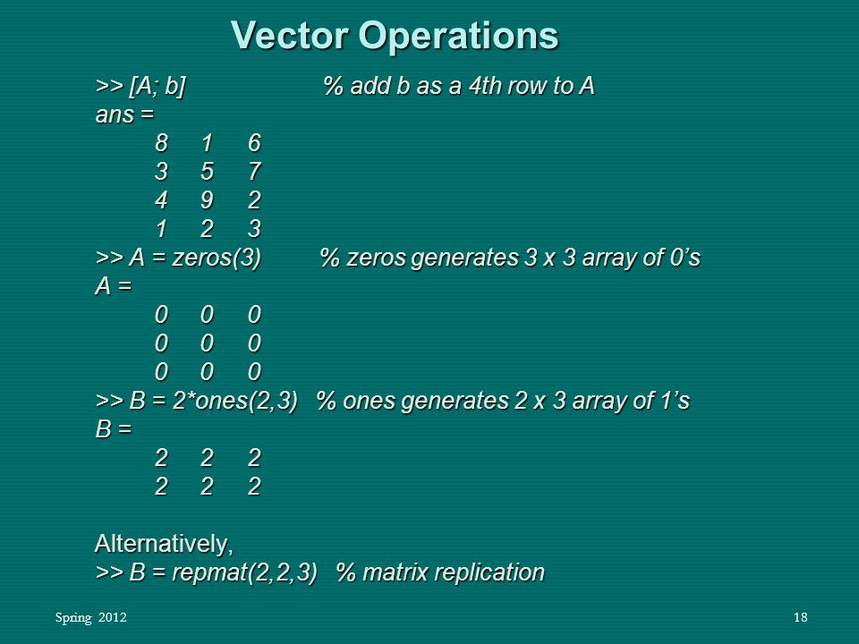 Spring 201218 Vector Operations >> [A; b] % add b as a 4th row to A ans = 8 1 6 8 1 6 3 5 7 3 5 7 4 9 2 4 9 2 1 2 3 1 2 3 >> A = zeros(3) % zeros gene