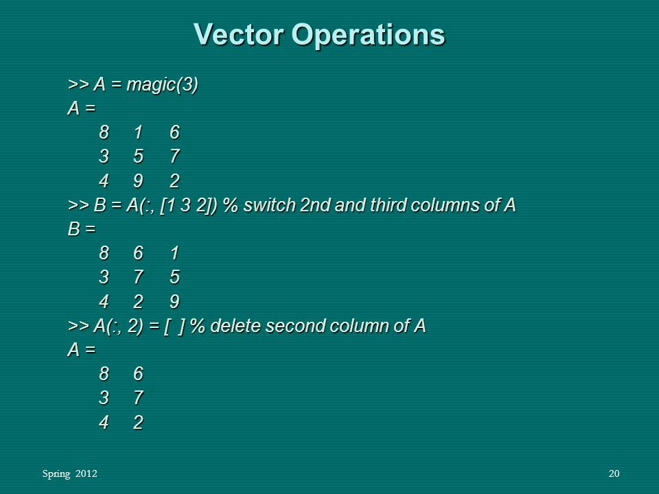 Spring 201220 Vector Operations >> A = magic(3) A = 8 1 6 8 1 6 3 5 7 3 5 7 4 9 2 4 9 2 >> B = A(:, [1 3 2]) % switch 2nd and third columns of A B = 8