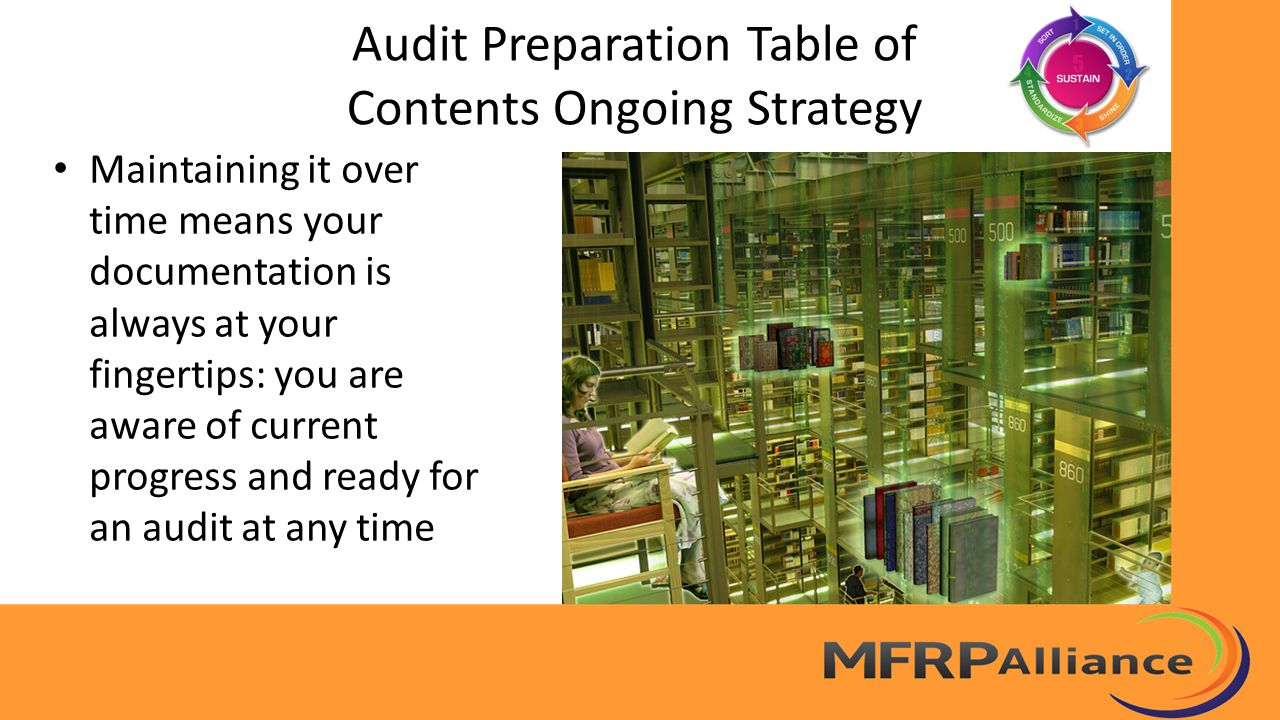 Audit Preparation Table of Contents Ongoing Strategy Maintaining it over time means your documentation is always at your fingertips: you are aware of current progress and ready for an audit at any time