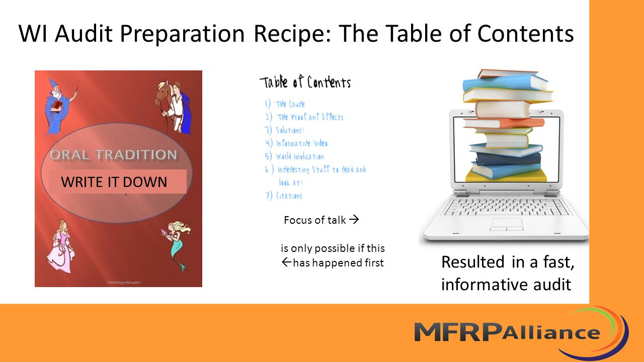 WI Audit Preparation Recipe: The Table of Contents Focus of talk  is only possible if this  has happened first WRITE IT DOWN Resulted in a fast, inf