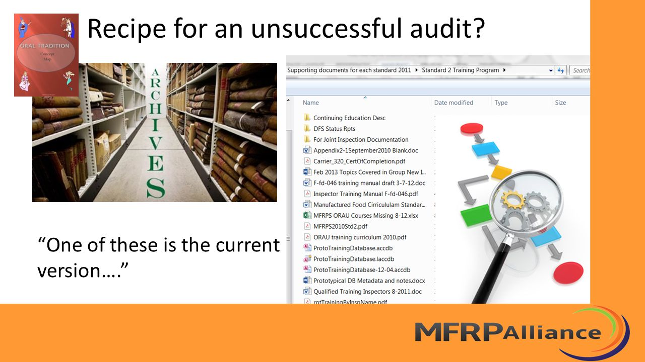 """Recipe for an unsuccessful audit? """"One of these is the current version…."""""""