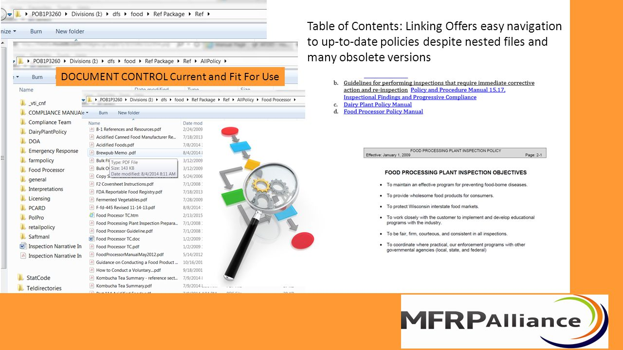 Table of Contents: Linking Offers easy navigation to up-to-date policies despite nested files and many obsolete versions DOCUMENT CONTROL Current and