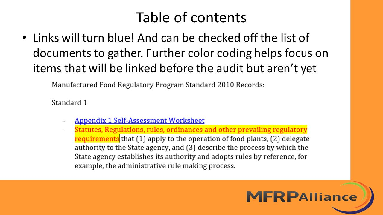 Table of contents Color Coding Suggestions Informational headings are black – Black headings are also used to indicate hard copies: example, hard copy training certificates, filed by name Links to completed documentation are blue Red headings preface links to the strategic plan showing forthcoming documents and gaps that have been identified for example, – Standard 9, Exit Strategy of Sustainment see strategic planstrategic plan