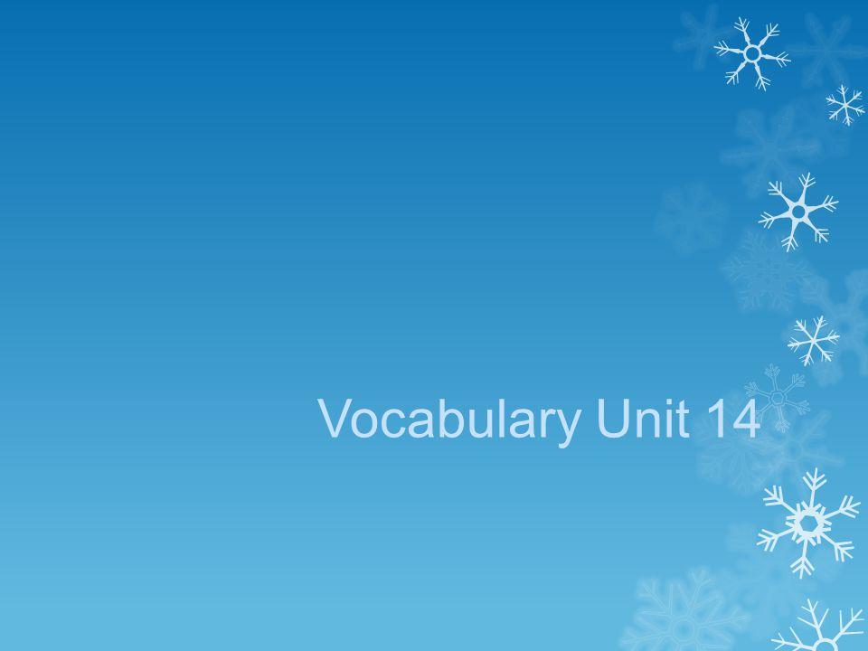 Vocabulary Unit 14