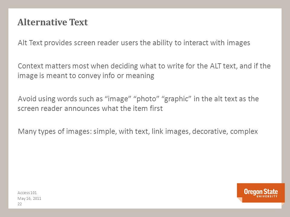 Color Combinations or: Is this hard to read? People with low-vision are most affected by contrast Use sufficient contrast WCAG 2.0 Guideline 1.4.3WCAG